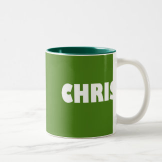 Grönt Chris namn Två-Tonad Mugg