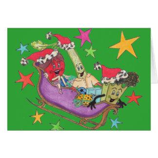 """Grönt """"Crunchy Starry"""" julkort Hälsningskort"""