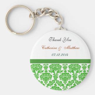 grönt damastast bröllop tackar dig rund nyckelring