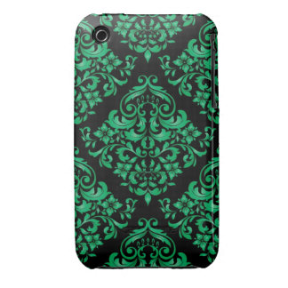 Grönt damastast designblackberry curvefodral iPhone 3 Case-Mate cases