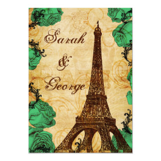 grönt eiffel för smaragd torn Paris som gifta sig 12,7 X 17,8 Cm Inbjudningskort