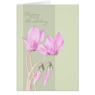 Grönt födelsedagkort för rosa Cyclamens Hälsningskort