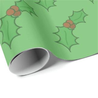 Grönt för bär för gladlynt juljärneklöv röd presentpapper