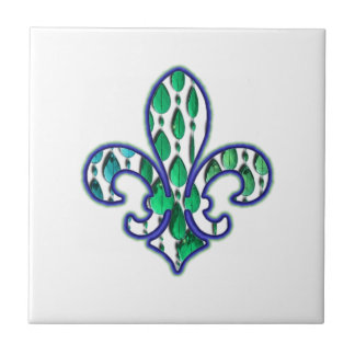 Grönt för Fleur De Lis Flor New Orleans juvelblått Kakelplatta