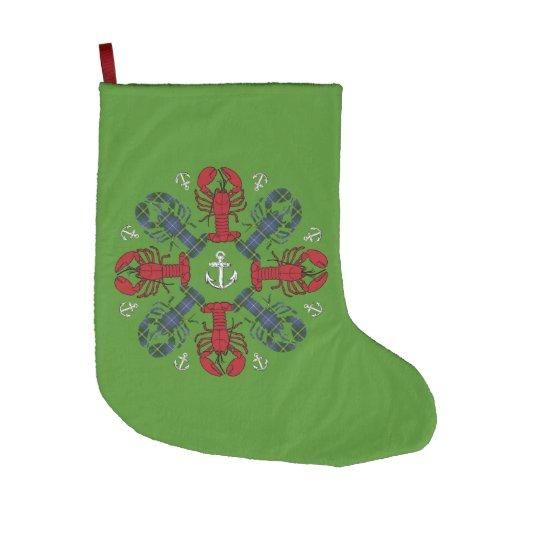 Grönt för gullig hummer för julstrumpa nautisk stor julstrumpa