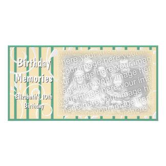 Grönt för gult för kort för födelsedagsfestminnesf fotokort mall