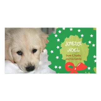 Grönt för kran för kort för Joyeux Noel hundfoto