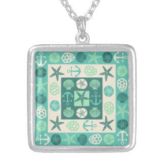 Grönt för kricka för strandsnäckskal nautisk silverpläterat halsband
