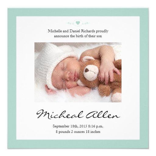 Grönt för Mint för meddelande för nyfödd bebisdikt Personliga Inbjudningskort