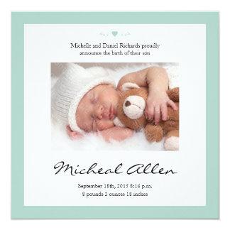 Grönt för Mint för meddelande för nyfödd Fyrkantigt 13,3 Cm Inbjudningskort
