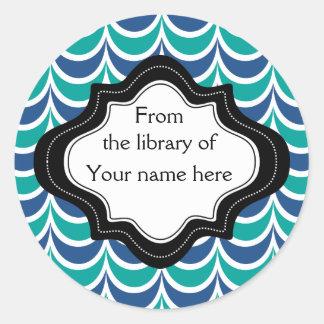 Grönt för personligen Bookplates|Blue vågigt Runt Klistermärke