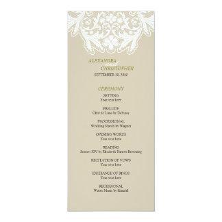 Grönt för program för elegant bröllop för vitsnöre 10,2 x 23,5 cm inbjudningskort