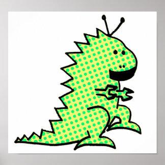 Grönt för robotDinosauraffisch Poster