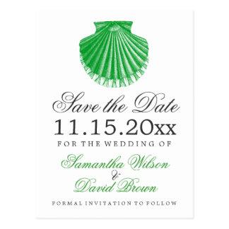 Grönt för snäcka för strandbröllop spara vykort