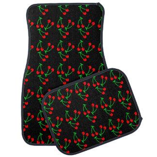 Grönt för svart för körsbärsrött fruktmönster röd bilmatta