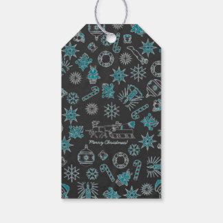 Grönt för svart för symboler för god julSanta Presentetikett