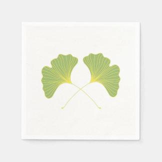 Grönt för vår för Ginkgoträdlöv Papper Servetter