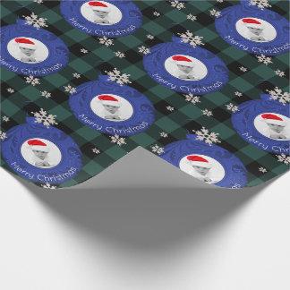 Grönt foto för god jul för buffelplädblått presentpapper
