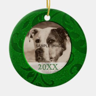 Grönt foto för husdjur för julgransprydnad keramik