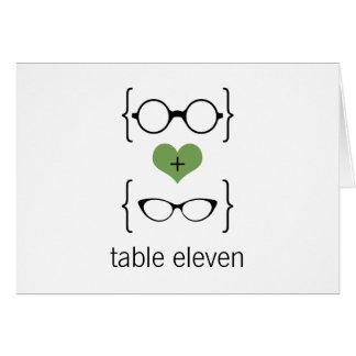 Grönt Geeky exponeringsglasbordsnummerkort Hälsningskort