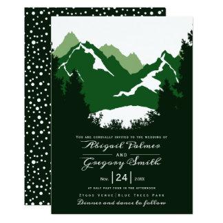 Grönt gifta sig för berg och för barrträdträd 12,7 x 17,8 cm inbjudningskort