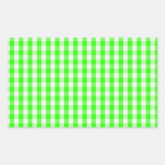 Grönt Ginghammönster för neon av Shirley Taylor Rektangulärt Klistermärke