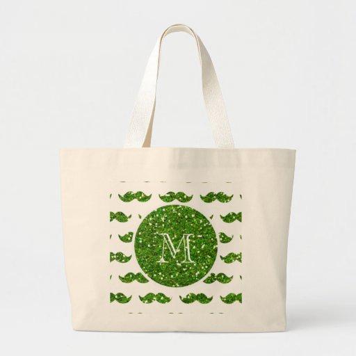 Grönt glittermustaschmönster din Monogram Kassar