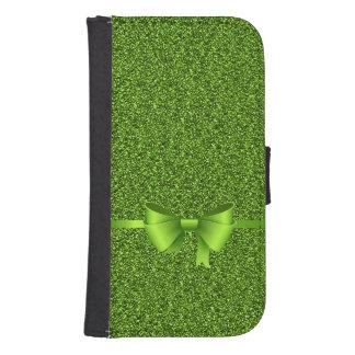 Grönt glitterpilbågeband samsung s4 plånboksfodral