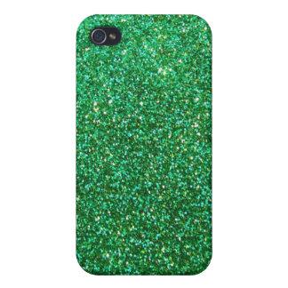 Grönt grafiskt fauxglitter iPhone 4 hud