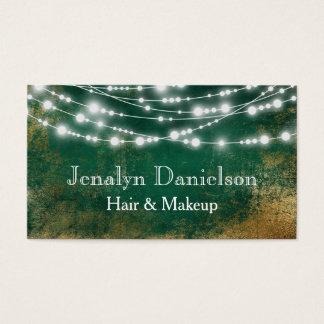 Grönt guld- elegantt festligt hänga stränger ljus visitkort