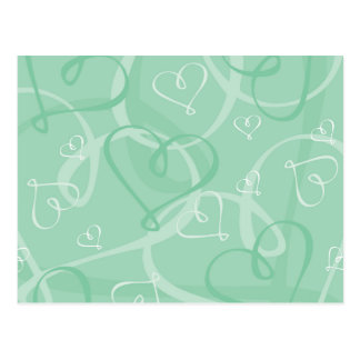 Grönt hjärtamönster för Mint Vykort
