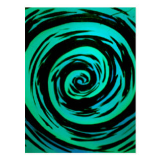 Grönt hypnotiskt virvlar runt konst vykort