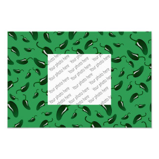 Grönt jalapenopepparmönster fototryck