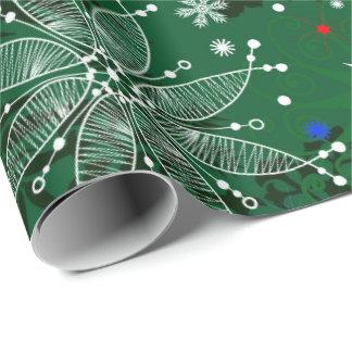 Grönt julsnowflakemönster som slår in papper presentpapper