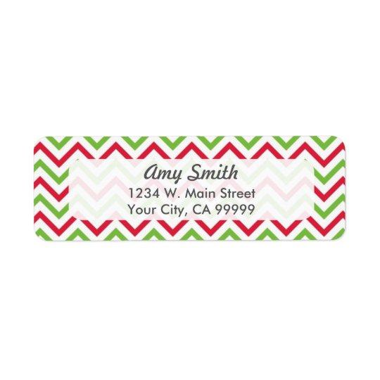 Grönt julsparremönster som är rött och returadress etikett