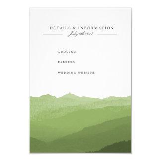Grönt kort för information om vattenfärgberg 8,9 x 12,7 cm inbjudningskort