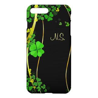 Grönt lyckligt glitter för Shamrocksvartfaux iPhone 7 Plus Skal