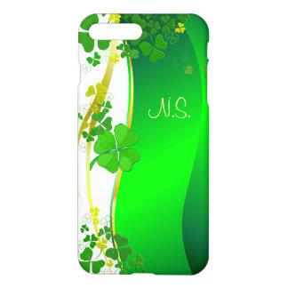 Grönt lyckligt Shamrockfauxglitter vinkar iPhone 7 Plus Skal