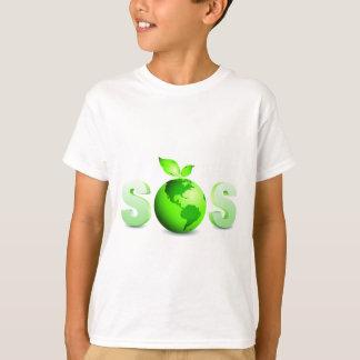 Grönt meddelande för dag för jordSOS-jord T-shirts