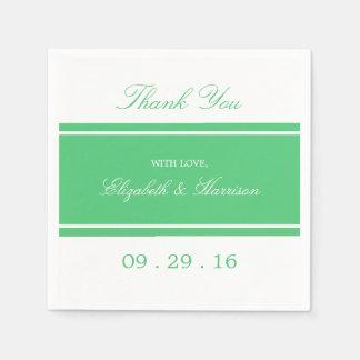 Grönt modernt bröllop för smaragd pappersservetter