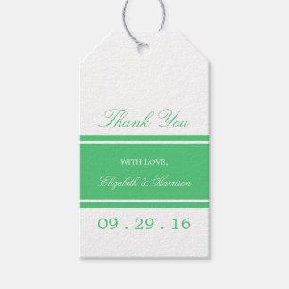 Grönt modernt bröllop för smaragd presentetikett