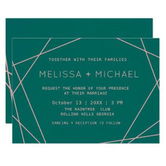 Grönt modernt Minimalist bröllop 12,7 X 17,8 Cm Inbjudningskort