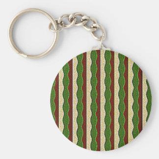 Grönt mönster för bruntkrämrandar nyckelringar