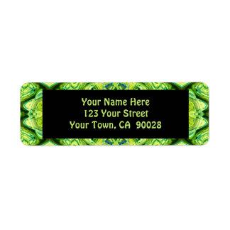 grönt mönster returadress etikett
