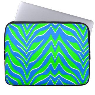 Grönt neon och blåttzebra ränder laptop datorskydd