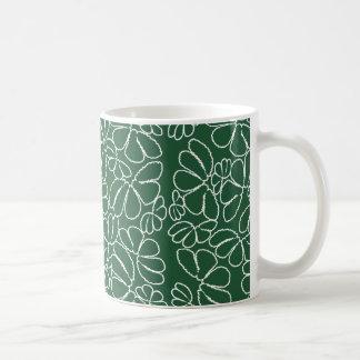 Grönt nyckfullt mönster för Ikat blom- Kaffemugg