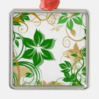 Grönt och beige borstade blommor 2 julgransprydnad metall