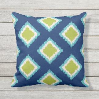 Grönt och blått för diamantmönster   kudde