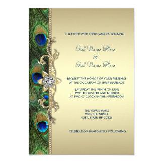Grönt och guld- påfågelbröllop för smaragd 12,7 x 17,8 cm inbjudningskort