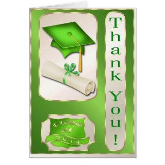 Grönt och guld- studententackkort kort